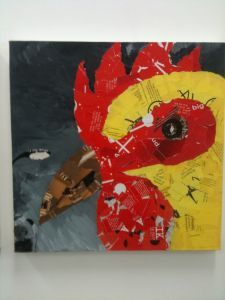 Large chicken head collage