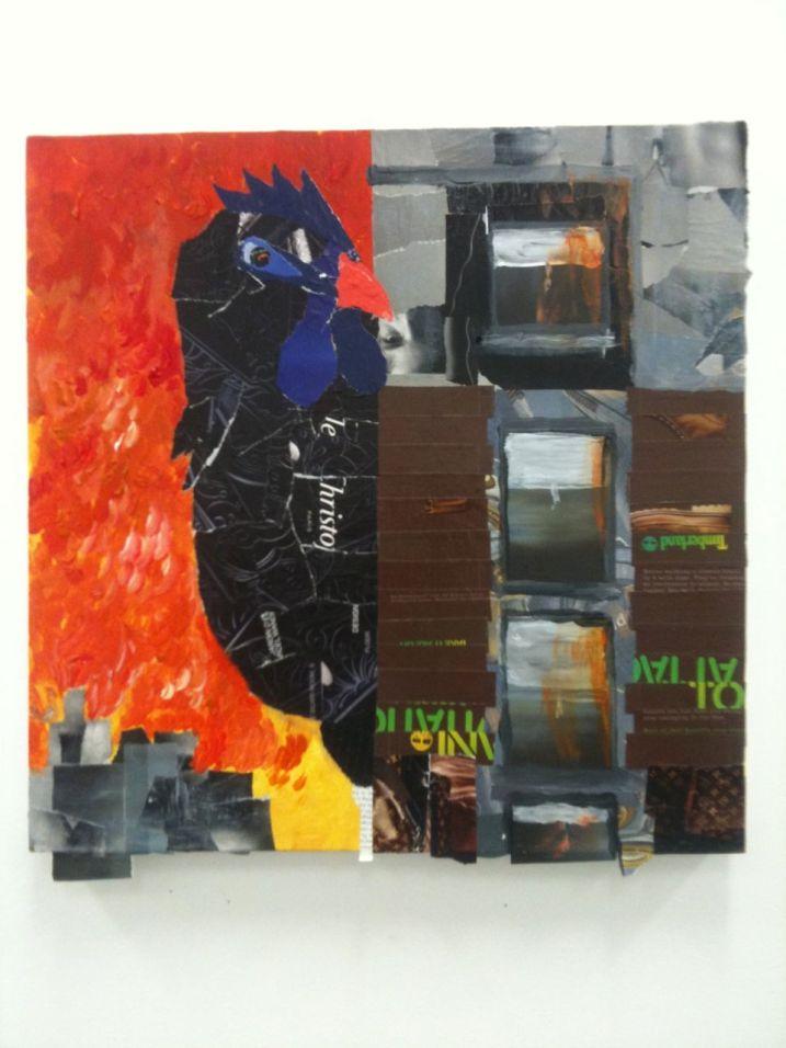 Black chicken in cityscape