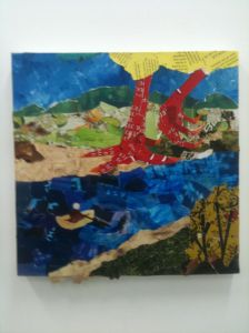Collage chicken by river