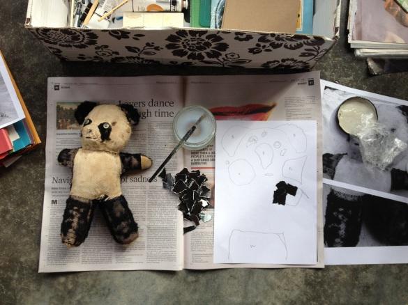 Creating a panda using black & white paper