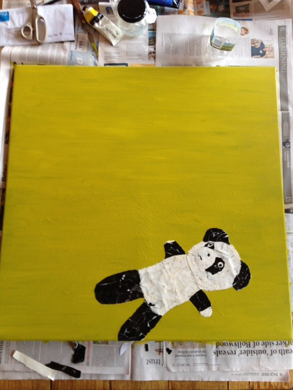 Yellow green textured canvas with assembled panda collage