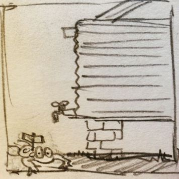 Sketch of water tank and wind-up frog by Ray Monde