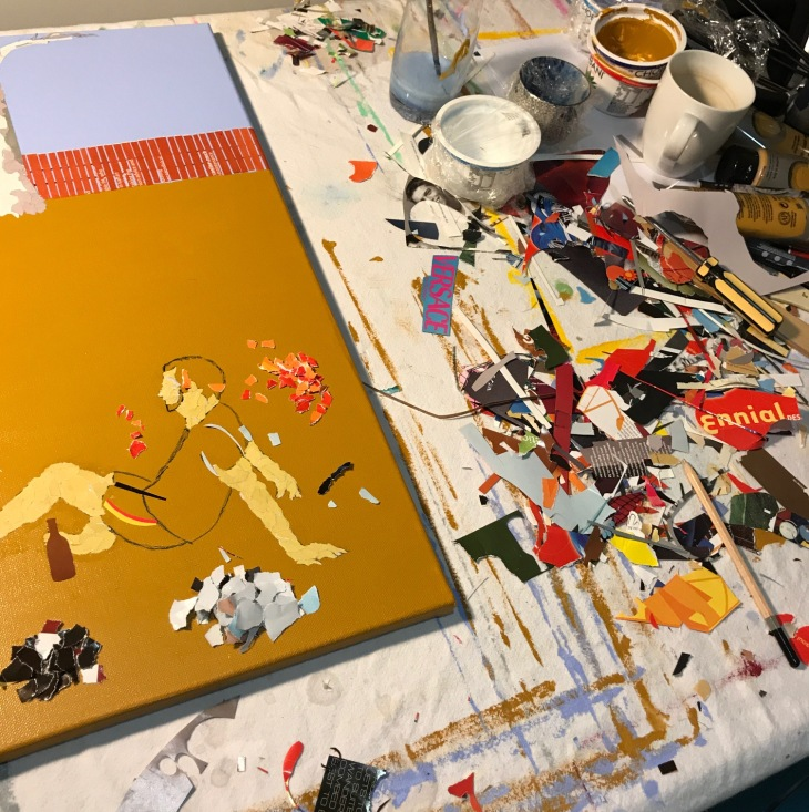 messy workbench in Ray Monde studio