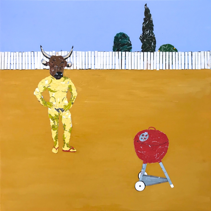 Naked minotaur in suburbs collage by Ray Monde