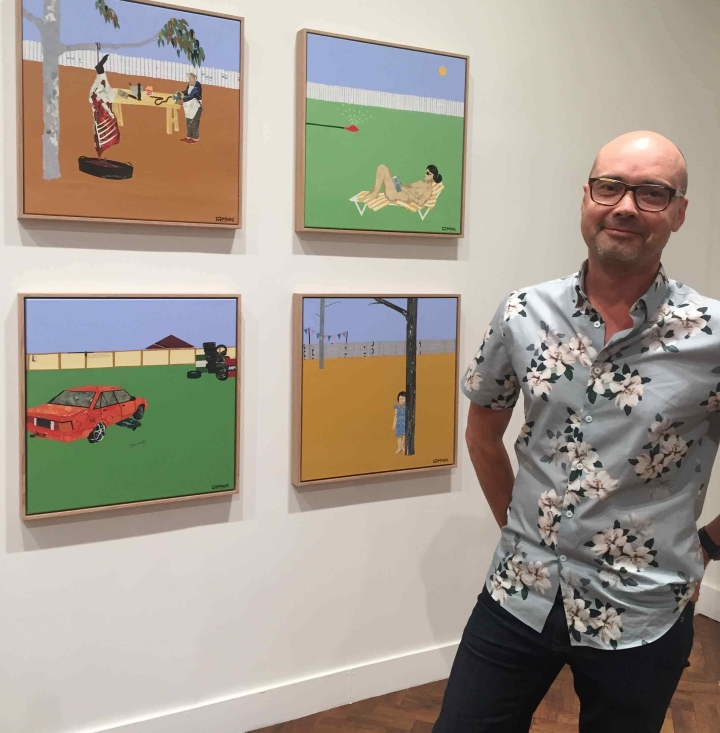 Artist Ray Monde with his artworks at Goulburn Regional Art Gallery