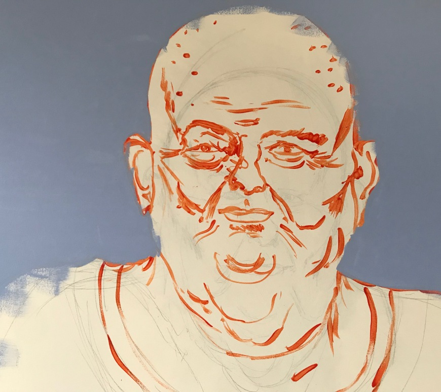close up sketch of Les Murray by Ray Monde