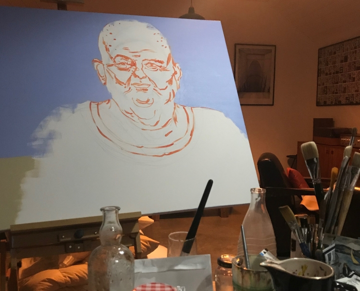 Painting of Les Murray in Ray Monde studio