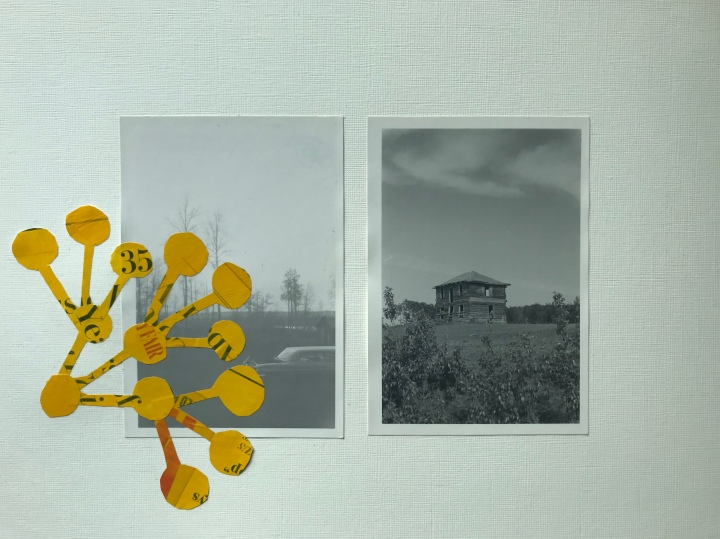 Artwork by Ray Monde showing black and white photos of abandoned houses with infection dots over it