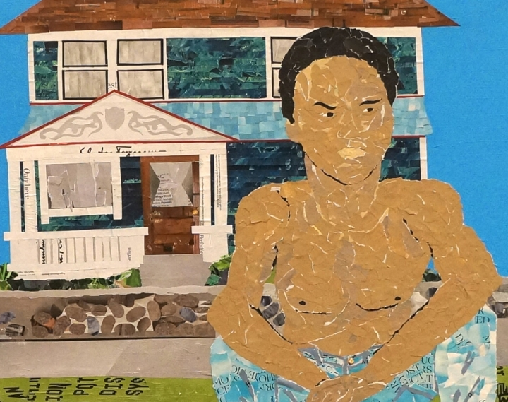 Artwork by Ray Monde of young African American outside LA house