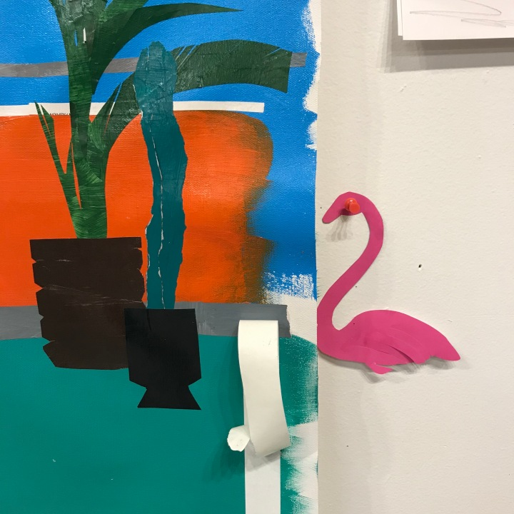 Pink flamingo cut out by Ray Monde inspired by The Cut-Outs exhibition Matisse