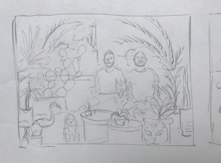 Pencil sketch by Ray Monde of two men and a dog on their balcony filled with plants