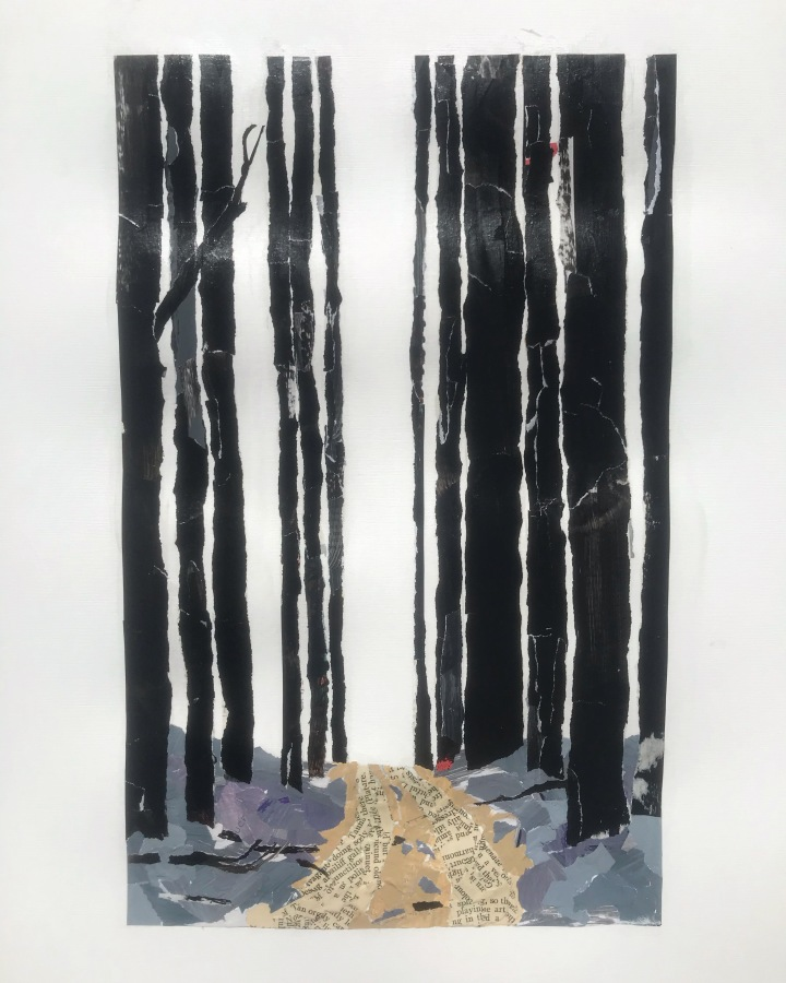 Dirt road lined with tall burnt eucalyptus trees by Ray Monde artist