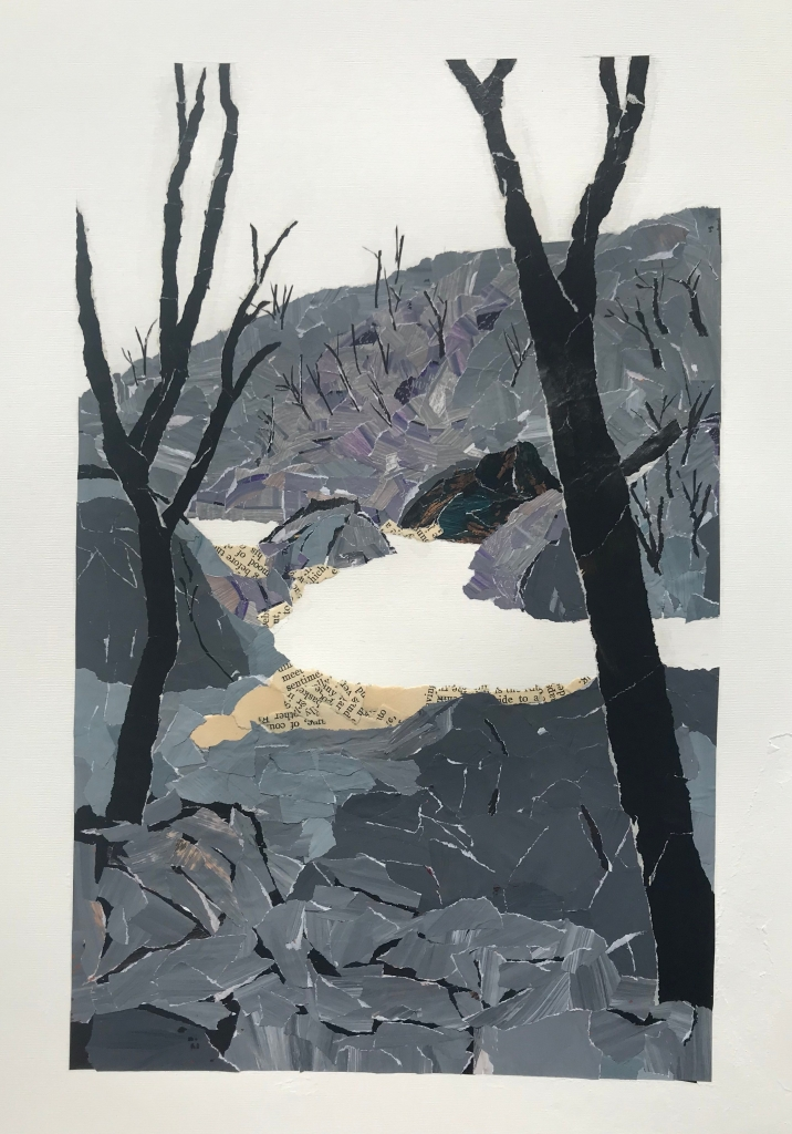Artwork by Ray Monde showing a burnt landscape around the Shoalhaven River