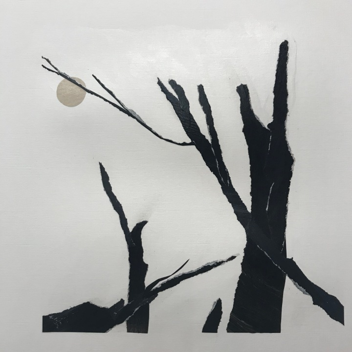 Collage by Ray Monde with burnt logs and sun
