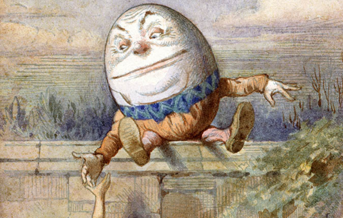 Humpty on a wall, From Alice in Wonderland by Lewis Carroll, Illustrated by Charles Lutwidge Dodgson.