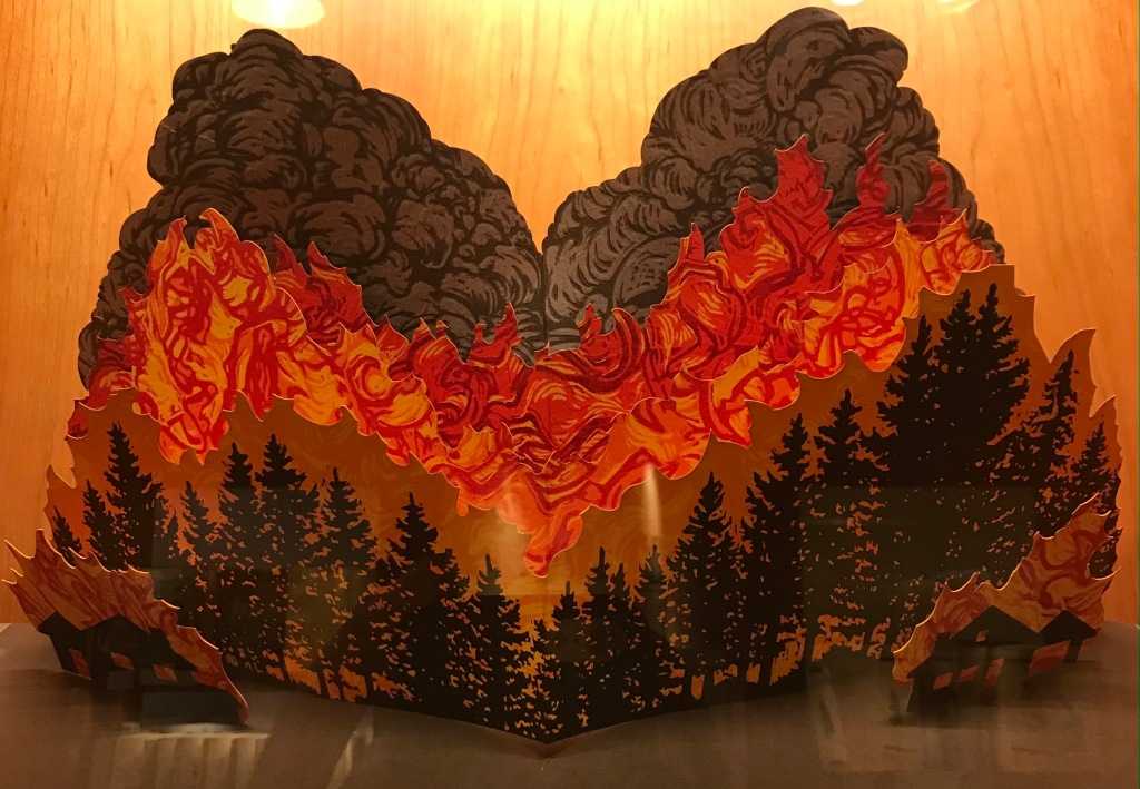 Pop up book of forest fires and burning fires