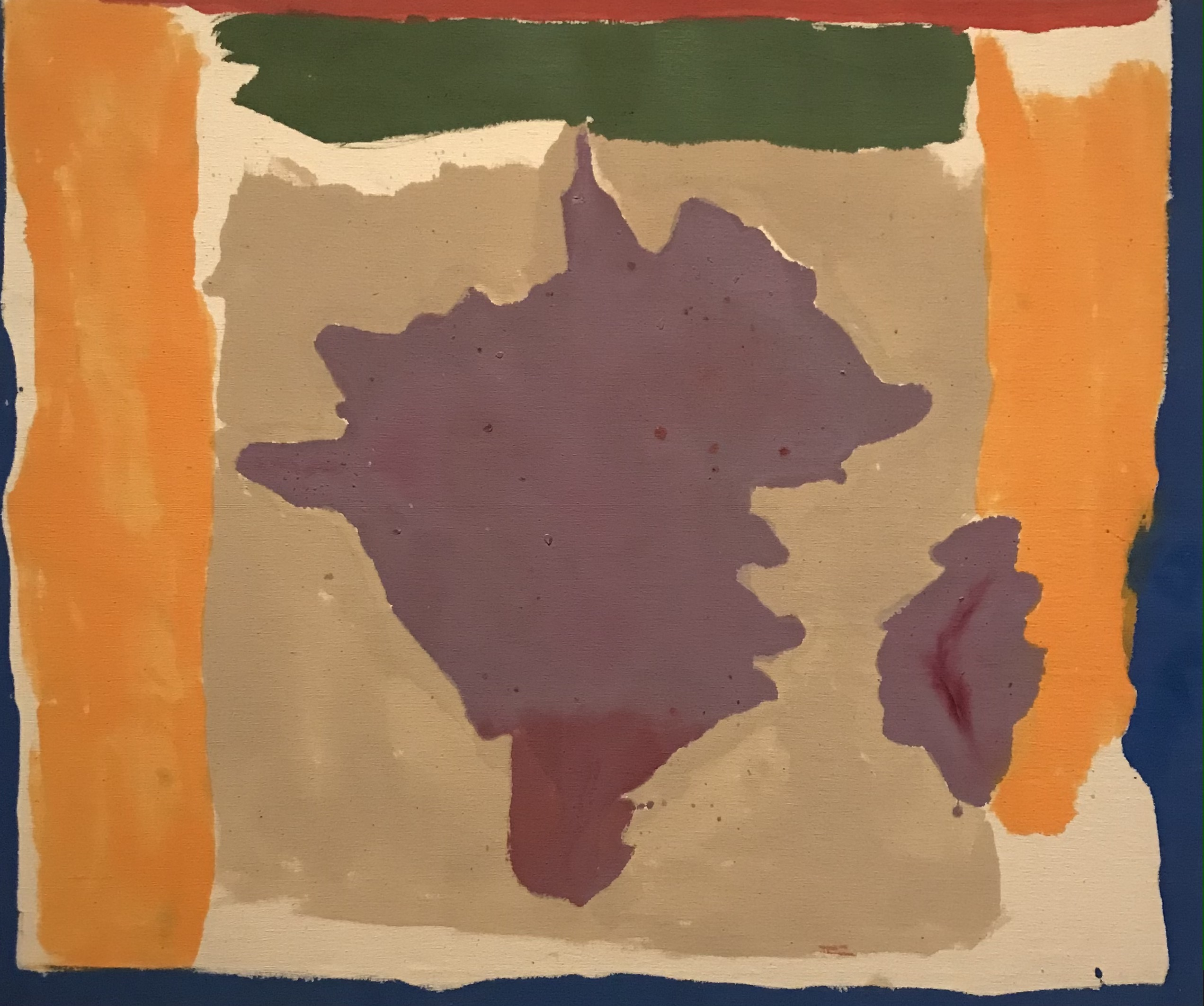 Artwork by Helen Frankenthaler with bright purple yellow and blue splotches