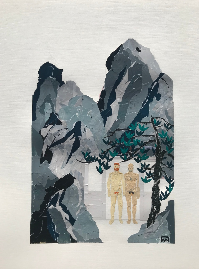 Chinese style mountains and pine tree with two naked men holding hands by Ray Monde